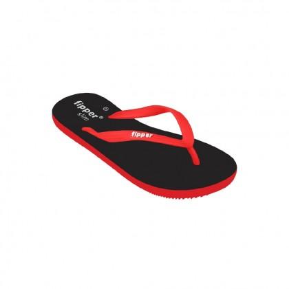 Original Fipper Slipper Slim Rubber For Women ( Black/Red )